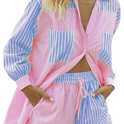 MISSACTIVER Women's Casual 2 PieceOutfit Set Oversized Long Sleeve Shirt Loose Drawstring Short... | Amazon (US)