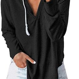 KIRUNDO 2021 Women's Deep V Neck Hoodie Long Sleeves Solid Color Drawstring Belt Sweatshirt Loo...   Amazon (US)