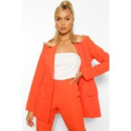 Womens Woven Double Breasted Pocket Blazer - Orange - 8, Orange | Boohoo.com (UK & IE)