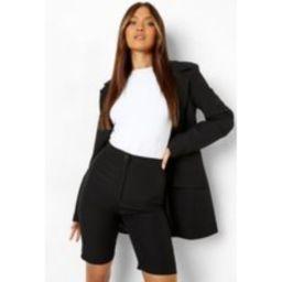 Womens Longline Tailored Shorts - Black - 14, Black | Boohoo.com (UK & IE)