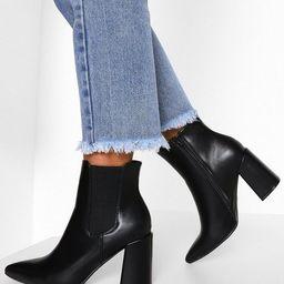 Block Heel Pointed Toe Chelsea Boots | Boohoo.com (US & CA)