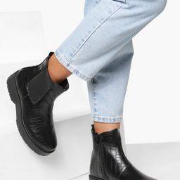 Croc Platform Chunky Chelsea Boots | Boohoo.com (US & CA)