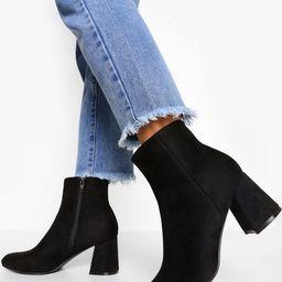 Block Heel Pointed Toe Shoe Boots | Boohoo.com (US & CA)