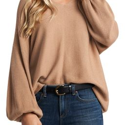Ribbed Balloon Sleeve Cotton Blend Sweater | Nordstrom