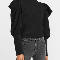Ribbed Puff Sleeve Mock Neck Top   Express