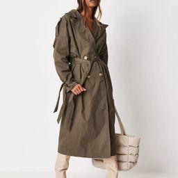 Khaki Oversized Trench Coat | Missguided (US & CA)