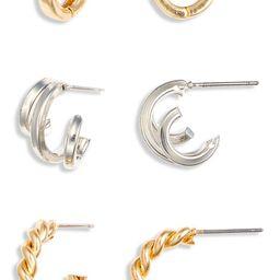 Set of 3 Twisted Huggie Hoop EarringsBP. | Nordstrom Rack