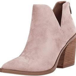 Womens Ankle Boots Slip on Cutout Pointed Toe Snakeskin Chunky Stacked Mid Heel Booties | Amazon (US)