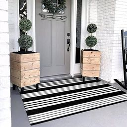 OJIA Black and White Outdoor Rug 3 x 5 ft Cotton Hand-Woven Striped Rug,Machine Washable Indoor/O... | Amazon (US)