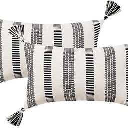 blue page Set of 2 Cotton Woven Lumbar Throw Pillow Covers, Black White Stripe Neutral Pillow Cas... | Amazon (US)