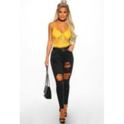 Sweet Lies Black Distressed Ripped Skinny Jeans | Pink Boutique