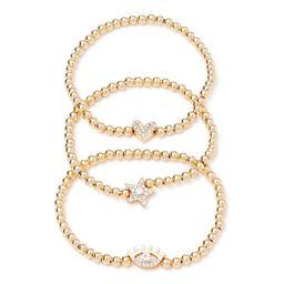 Scoop - Scoop Womens Gold-Tone Crystal Star, Heart, Evil Eye Bead Stretch Bracelet Trio, 3-Piece ... | Walmart (US)