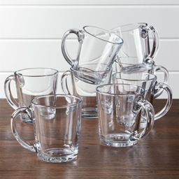 Moderno Clear Glass Coffee Mug, Set of 8 + Reviews   Crate and Barrel   Crate & Barrel