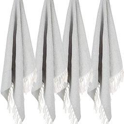 100% Cotton Hand Face Head Guest Gym Towel Set Washcloth Kitchen Tea Towel Dish Cloth Set of 4 Li... | Amazon (US)