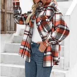 Hixiaohe Women's Casual Loose Wool Blend Plaid Shirts Jacket Button Down Long Sleeve Shacket Jack... | Amazon (US)