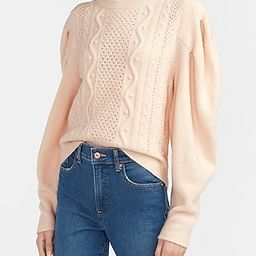 Cable Knit Puff Sleeve Sweater   Express
