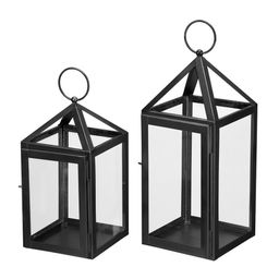 Home Decorators Collection Modern Black Metal Lantern Candle Holder - Hanging or Tabletop (Set of... | The Home Depot