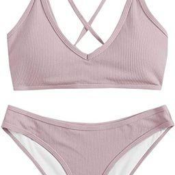 SweatyRocks Women's Bathing Suits Spaghetti Strap Criss Cross Back Bikini Ribbed Swimsuit   Amazon (US)