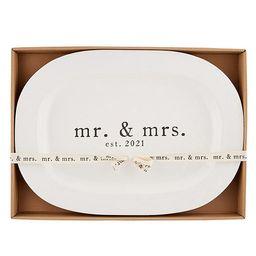 Wedding Collection Mr & Mrs EST. 2021 Oval Platter | Dillards
