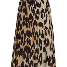 Leopard-Print Pleated Georgette Skirt   Saks Fifth Avenue