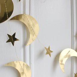 Gold Metallic Star and Crescent Moons Garland   Gold Star Party Banner   Celestial Halloween   We...   Etsy (US)