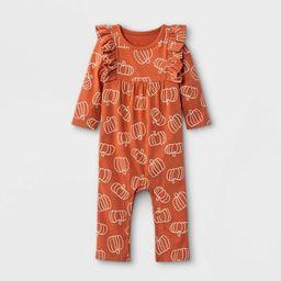 Baby Girls' Pumpkin Long Sleeve Romper - Cat & Jack™ Terracotta   Target