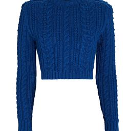 Padded Shoulder Cable Knit Crop Sweater | INTERMIX