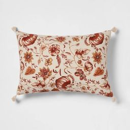 Reversible Printed Pumpkin Lumbar Throw Pillow with Corner Tassels - Threshold™ | Target
