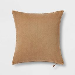 Washed Cotton Canvas Square Throw Pillow with Exposed Zipper - Threshold™ | Target