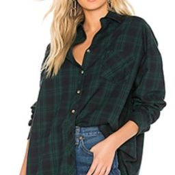 superdown Audriana Oversized Flannel Top in Green from Revolve.com   Revolve Clothing (Global)