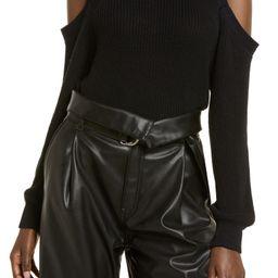 Cold Shoulder Shaker Stitch Cotton Sweater | Nordstrom