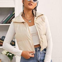 SHEIN Zip Front PU Leather Puffer Winter Coat | SHEIN