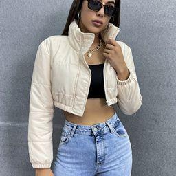 Zip Up Crop Puffer Coat | SHEIN