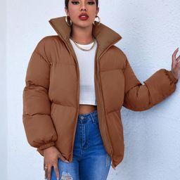 SHEIN High Neck Zip Up Puffer Coat | SHEIN