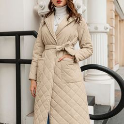 Simplee Open Front Patch Pocket Belted Quilted Padded Coat | SHEIN