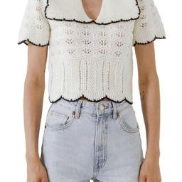 Mixed Stitch Crop Short Sleeve Sweater | Nordstrom | Nordstrom