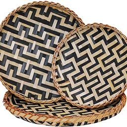 Decorative Wall Baskets Shallow Bamboo Tray Woven Art Decor Set Natural Handmade Fruit Basket Ver...   Amazon (US)