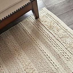 MOTINI Tufted Cotton Area Rug 2' x 3', Hand Woven Knotted Boho Small Shag Rug, Cozy Beige Ivory w...   Amazon (US)