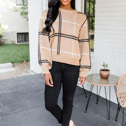Classic Beauty Brown Plaid Sweater   The Pink Lily Boutique