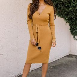Only In Fairytales Mustard Belted Henley Midi Dress   The Pink Lily Boutique