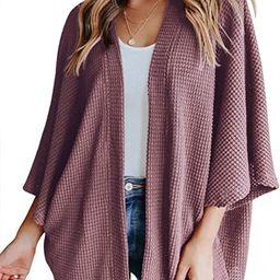YIBOCK Women's Lightweight Kimono Cardigans Sweater Loose Waffle Knit 3/4 Batwing Sleeve Beach Co... | Amazon (US)