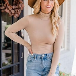 Wishful Heart Taupe Turtleneck Bodysuit   The Pink Lily Boutique