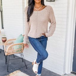 Said It Twice Taupe Popcorn Sweater   The Pink Lily Boutique