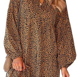 BROVAVE Women's Casual Tunic Dress Long Sleeve Boho Polka Dot Swing Ruffle Mini Dress S-3XL | Amazon (US)