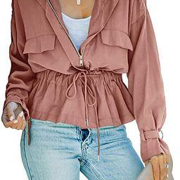 Women's Lightweight Military Jacket Ruffle Hem Zip Up Safari Utility Cargo Anorak Short Coat with... | Amazon (US)