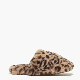 Quilted Scuff Slippers in Leopard Recycled Faux Fur   Madewell