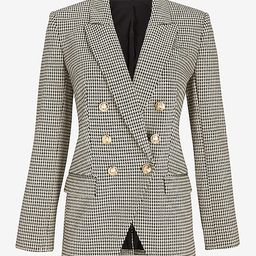 Houndstooth Knit Peak Lapel Double Breasted Blazer | Express