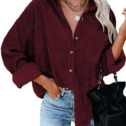 Astylish Womens Corduroy Shirts Casual Long Sleeve Button Down Blouses Tops | Amazon (US)
