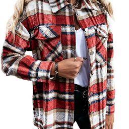 Sidefeel Women Plaid Long Sleeve Button Down Collar Long Shirt Oversized Coat | Amazon (US)
