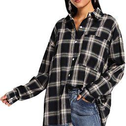 SweatyRocks Women's Long Sleeve Collar Long Button Down Plaid Shirt Blouse Tops | Amazon (US)